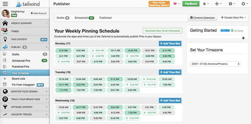 Smart Schedule in Tailwind App pinterest