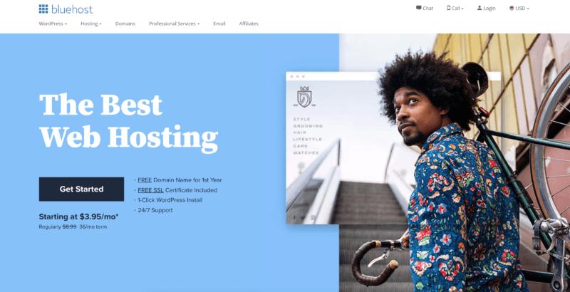 bluehost web hosting landing page
