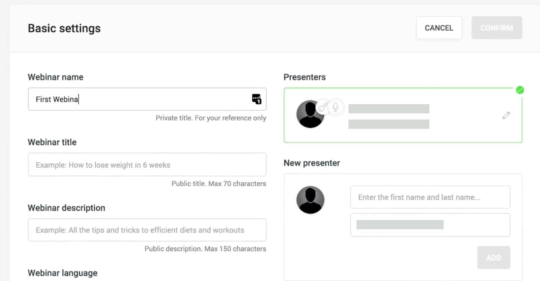 WebinarJam Webinar Setup Settings