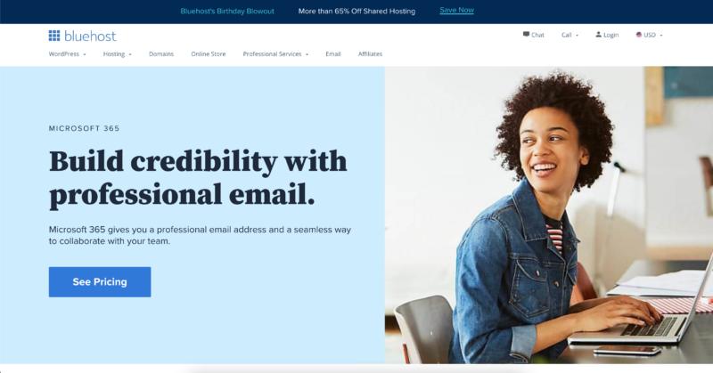 bluehost - best email hosting provider