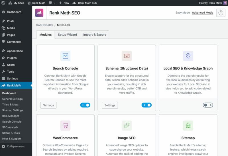 rank math modules page